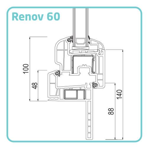 Termoplast Tamplarie PVC TRP 70 - profil renovare 60